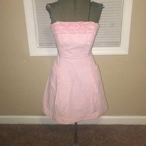 Lilly Pulitzer Pink and White Seersucker Dress